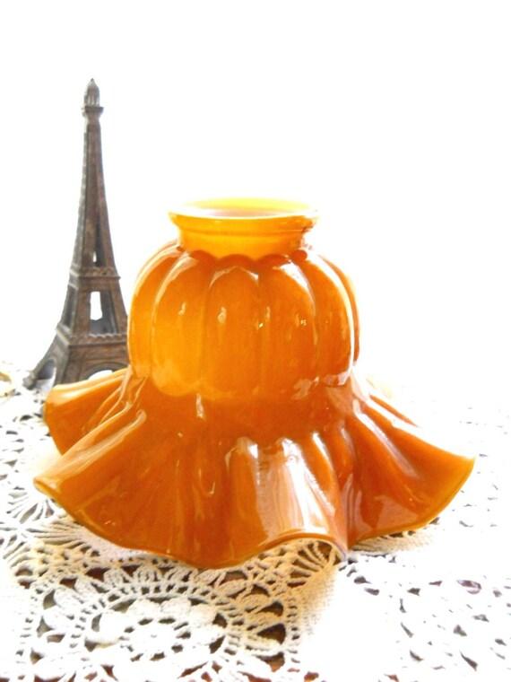 Antique Vintage C. 1900 Cased Glass Amber Caramel Ruffled Tulip Flower Lamp Lighting Sconce Globe Shade