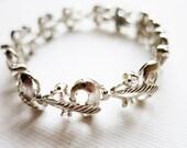 Vintage Silver Tone Bracelet with Cubic Zirconia Stones