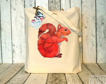 Red Squirrel Tote Bag, Ethically Produced Shopping Bag, Reusable Shopper Bag, Cotton Tote, Eco Tote Bag