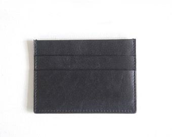 Black Charlie Cardholder - Handmade Leather Wallet