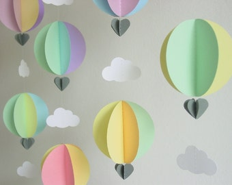 Hot Air Balloon Garland - Ice Cream Dream - Customised Colours - Baby Shower Decorations - Pastel Baby Decor - Nursery Decor -Up up and away