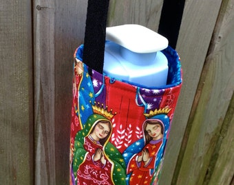 Water Bottle Carrier/Sling (Adjustable Strap)  Our Lady of Guadalupe Fabric, Insulated