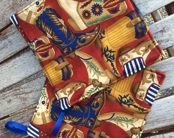 Two Pot Holders - Kicking Cowboy Boots with Loops, Personalization Available
