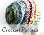 Instant Download Crochet Pattern Slouchy Happy Rainbow Beanie Striped Womens Beanie Mens Hat Beginner Instructions LGBT Pride Hat