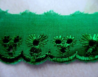 5 Yards 25 mm Vintage Lace Trim Embroidered Eyelet Green Cotton Lace Scallop Edge