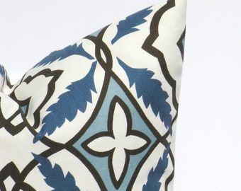Throw Pillow Covers ONE 20x20 Blue Gray Pillow Dark Blue Pillow Floral Leaf  Blue Cream Gray Printed Fabric both sides cushion Cover