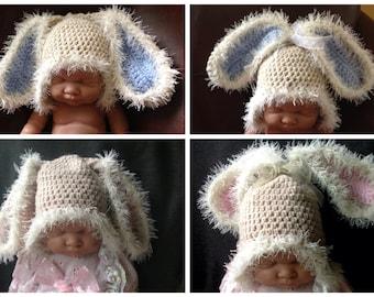 Baby bunny rabbit Hat, floppy bunny ears, Easter hat, baby gift photo prop