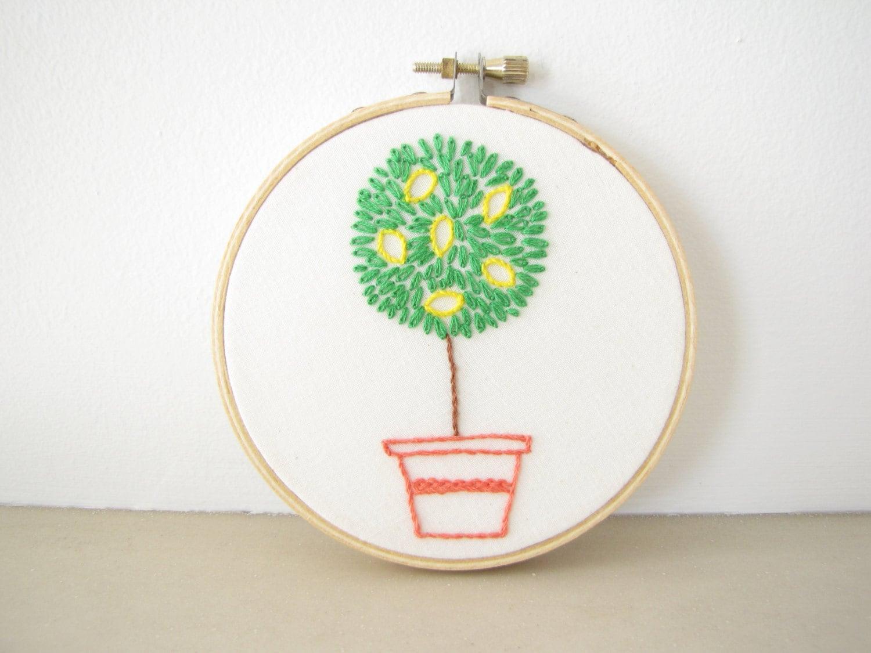 Embroidery hoop wall art home decor hand embroidered lemon