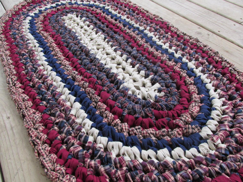 Crochet Pattern Oval Rug : Mount Vernon Rug Crochet Rag Rug Oval Medium Cotton Washable