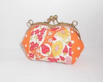Orange dots strawberry floral coin/change pouch/purse/wallet w metal frame