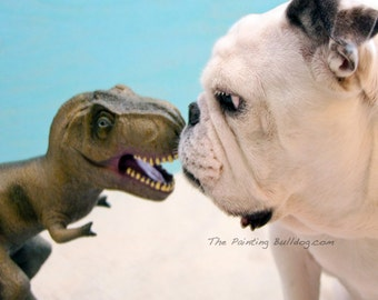 TREX and ENGLISH BULLDOG Photo, Bulldog giving the evil eye to a toy dinosaur, Piper Stone, Cute Rescue Dog Photo, Children - 5x7 or 8x10