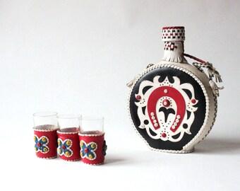 Vintage drinking bottle with 3 glasses old antique Spain Gift, bottle of liquor