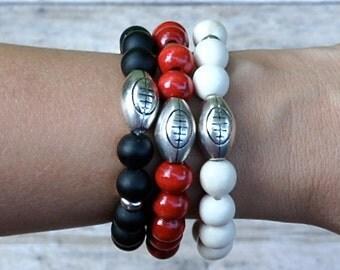 GO FALCONS Super Bowl Sunday Football Charm Beaded Bracelets | Free Shipping