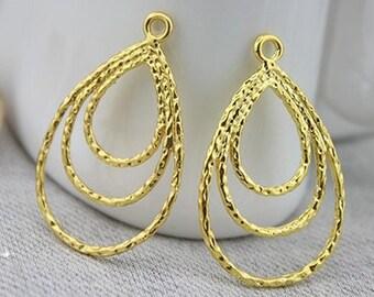 6 pcs  raw brass  plating gold tear drop   pendant finding