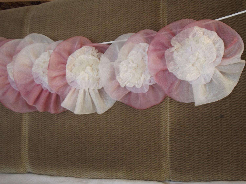 satz von 8 hochzeit girlande organza ornament wei rosa stoff. Black Bedroom Furniture Sets. Home Design Ideas