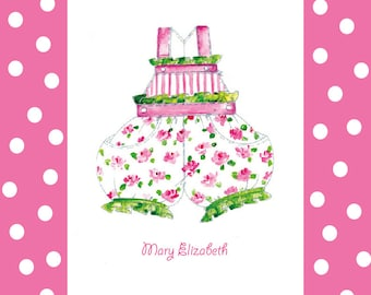 Nursery Decor, Little Girl's Romper Print Personalized