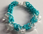 Blue and White Rubber Band Bracelet with Beads