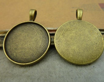 10PCS Antique bronze 25mm round Bezel Cup Cabochon mountings pendant tray- W4510