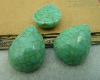 20PCS turquoise teardrop resin cabochon 18x25mm- WC3934