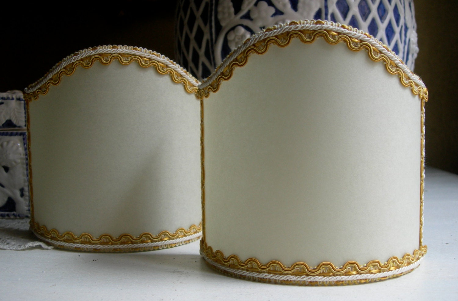 Parchment Wall Lamp Shades : Pair of Wall Sconce Clip-On Shield Shades Parchment with