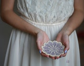Lace Ceramic Flower Plate Purple Ring Holder Oval Shape White Pottery Dish Ring Holder