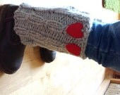 Children  Boot Cuff, Girl Boot Cuff, grey color, wellies boot cuff, leg warmers, two red heart, Valentines gifts, available in other colors,