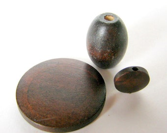 set of three wood beads - variety of shapes
