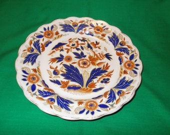 """One (1), 8 3/8"""" Rimmed Soup Bowl, from Booths, in the Dovedale, Brown & Cobalt Pattern."""