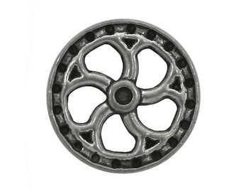 2 Steampunk Flywheel 5/8 inch ( 15 mm ) Metal Buttons Antique Silver Color