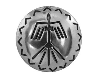 Thunderbird Concho 1 and 3/8 inch (34 mm) Metal Button