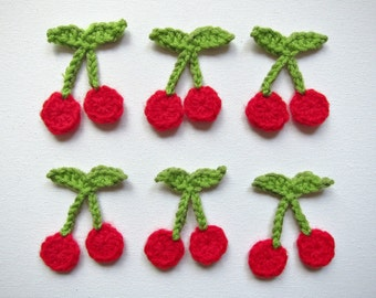 "1pc 2"" Crochet CHERRY Applique"