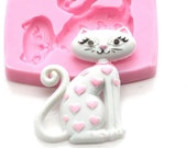 SweetHeart Cat Cabochon Mold 26mm Flexible Push Mold Chocolate Mold Phone Deco DIY Mold Resin Mold Bakery Mold Polymer Clay Mold FIMO 599m*