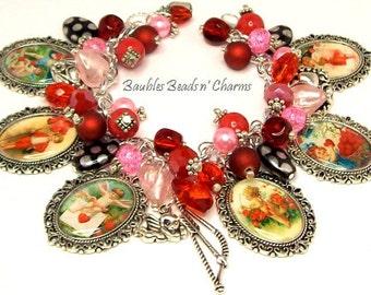 Valentine's Day Charm Bracelet Jewelry, Victorian Cupids and Hearts Charm Bracelet Jewelry, Love Romance Charm Bracelet