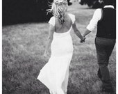 Stunning low back lace wedding dress with lace capped sleeves and dreamy silk chiffon skirt vintage boho