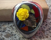Mosaic Yellow Rose Stained Glass Pill Box/Trinket Box