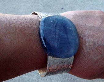 Aluminum Fused Glass Bracelet Cuff