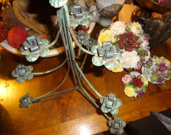Darling tiered green metal tree candle holder.....
