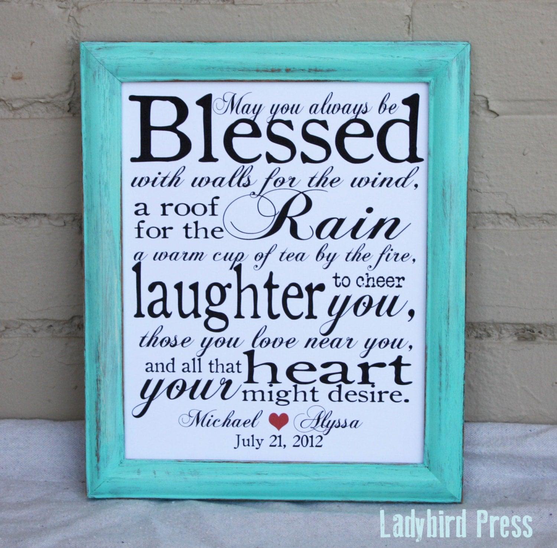 Funny Wedding Gifts Ireland : Printable Wedding Gift Print Decor Irish Blessing PDF