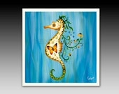 Seahorse Ceramic Tile with Hook