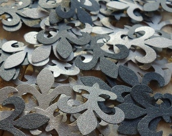 100 Silver and Black Shimmer Fleur Di Lis Diecut Confetti Paper Punches Ready to Ship