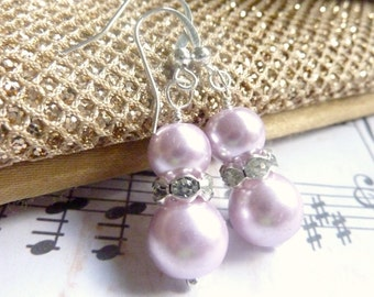 Bridesmaids earrings lilac purple pearl earrings silver and purple dangle drops