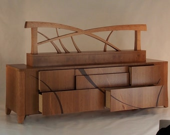 Dresser, Headboard, Bedside Tables, built in reading lights