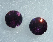 Swarovski Crystal Amethyst Stud Earrings (8mm)