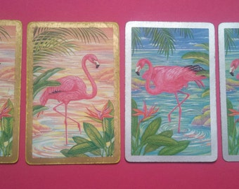 lot of 4 vintage playing cards flamingos (E-195)