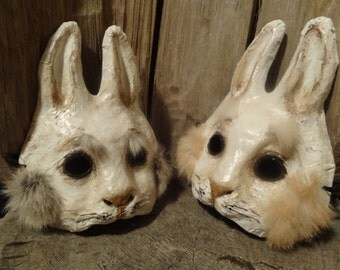 Rabbit mask bunny mask paper mache animal mask Stand by Me
