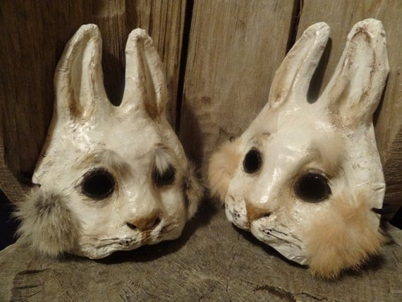 Rabbit mask bunny mask paper mache animal mask stand by me for Making paper mache animals