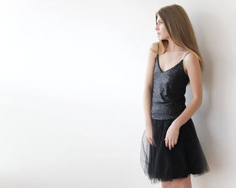 Tulle mini black skirt, Mini black skirt, Tutu black skirt 3004