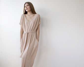 Knitted maxi dress with sleeves, Pink blush knit maxi casual dress 1022