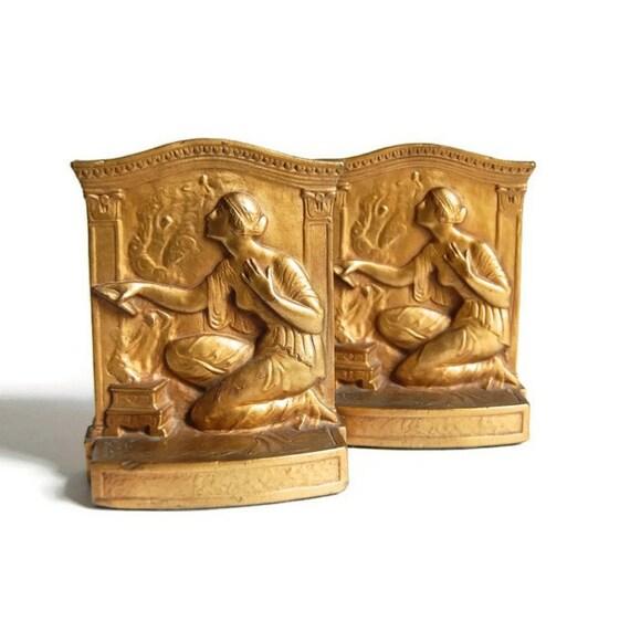 Armor bronze pandora figural bookends antique art deco art - Armor bronze bookends ...