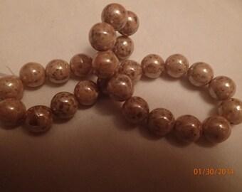 Strand of Vintage 1960's West German Glass Gold Speckled Beads PJsBeadedEagle